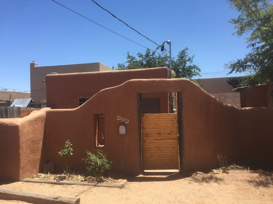 Adobe wall surrounding Casita