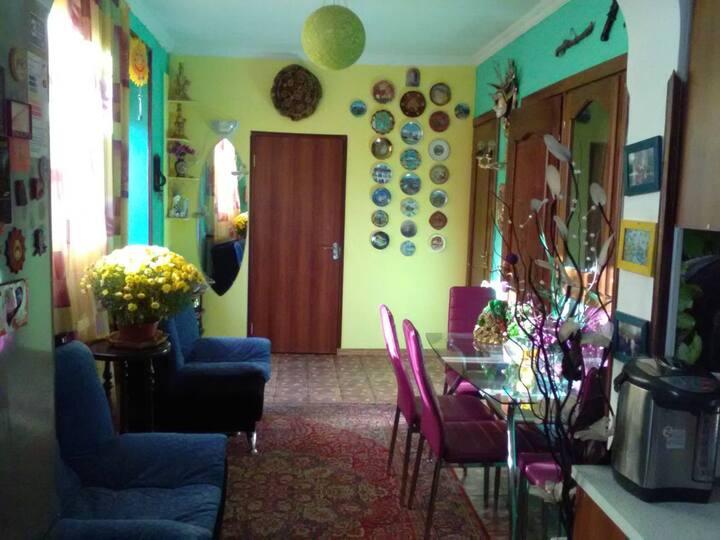 Солнечный дружелюбный дом.Гостям здесь рады.