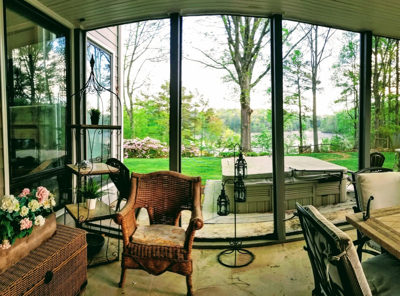 Besides your own deck  you can reserve time in the screened in porch & grill at back of house