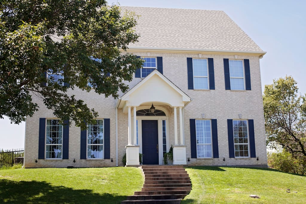 Main house - the guest suite is above the garage and has its own private entrance and balcony access.