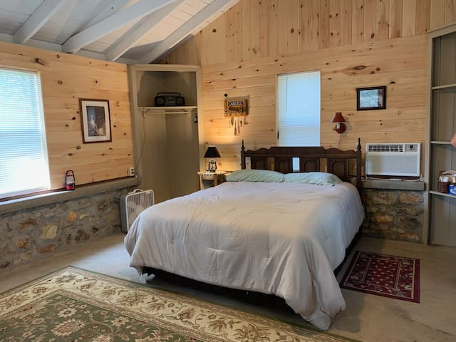 Your cabin has a queen size bed, AC and wifi.