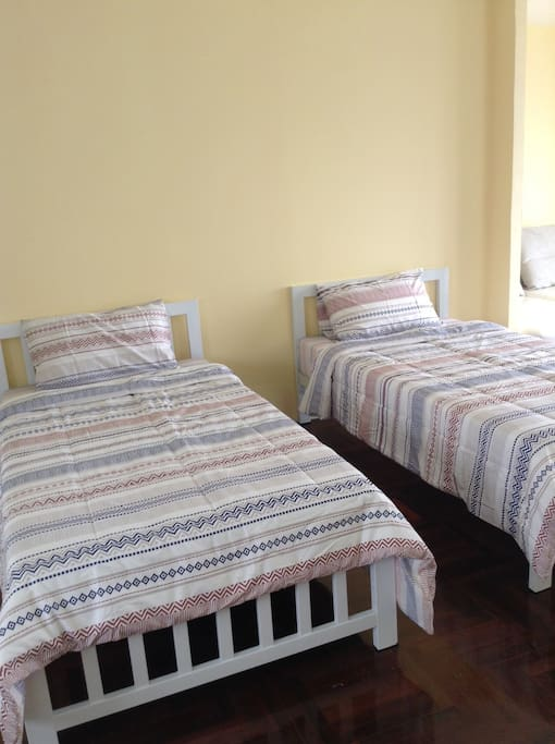 2 Single bed in 50 sq.m. bedrooms