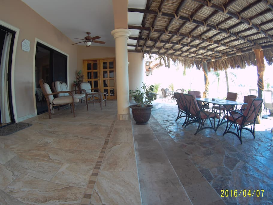 Patio has pool, sun areas, and plenty of shade to sit and enjoy the view.