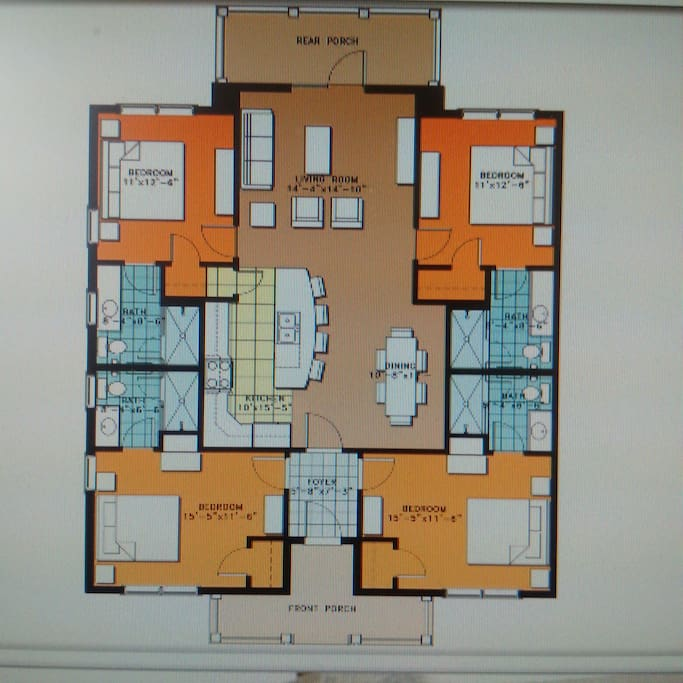 Layout of the unit with 4 bedrooms and bathrooms in each corner then open concept living room, dining room and kitchen