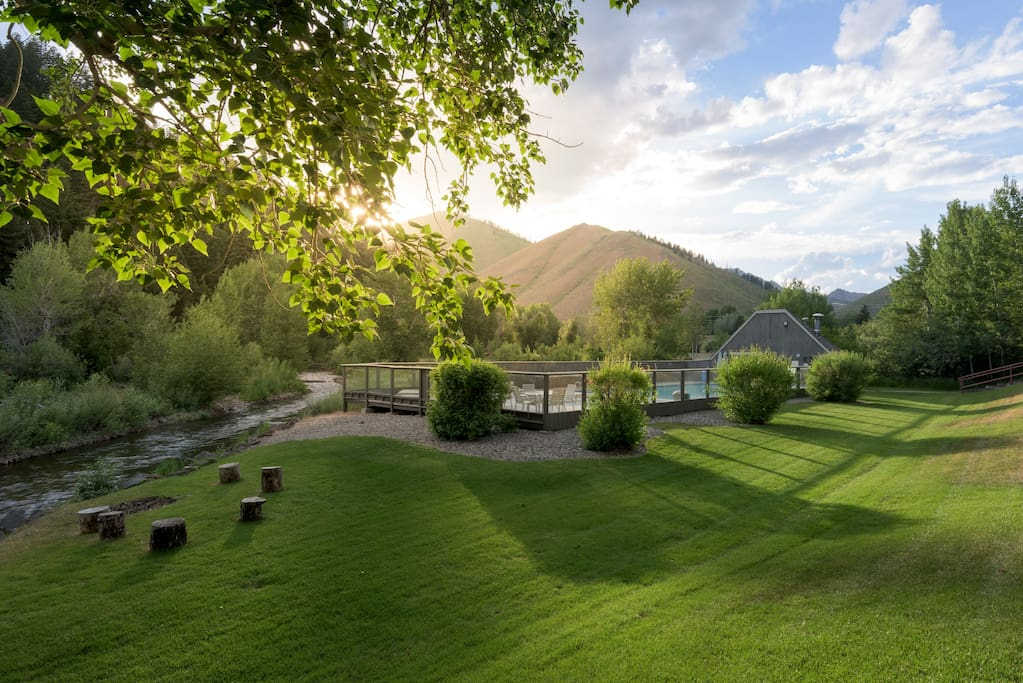 Across from #13, the lawn overlook Warm Springs Creek presents a great place to enjoy a sunset.