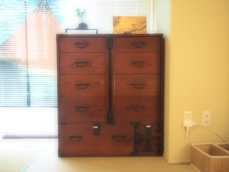 Antique tansu, Japanese wardrobe. It can be locked so you can put your clothes and your valuables in it.