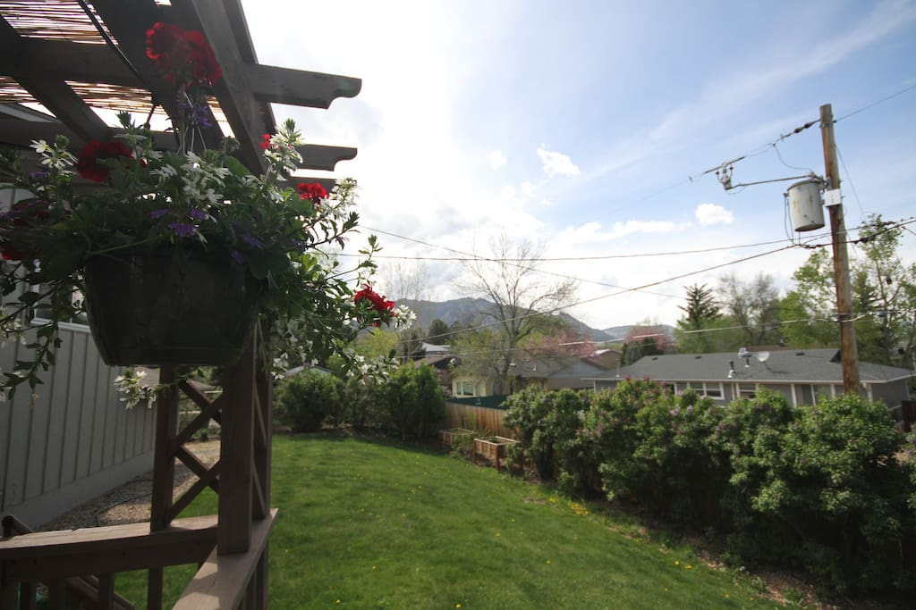 Nice views of the mountains, kids swing and trapeze