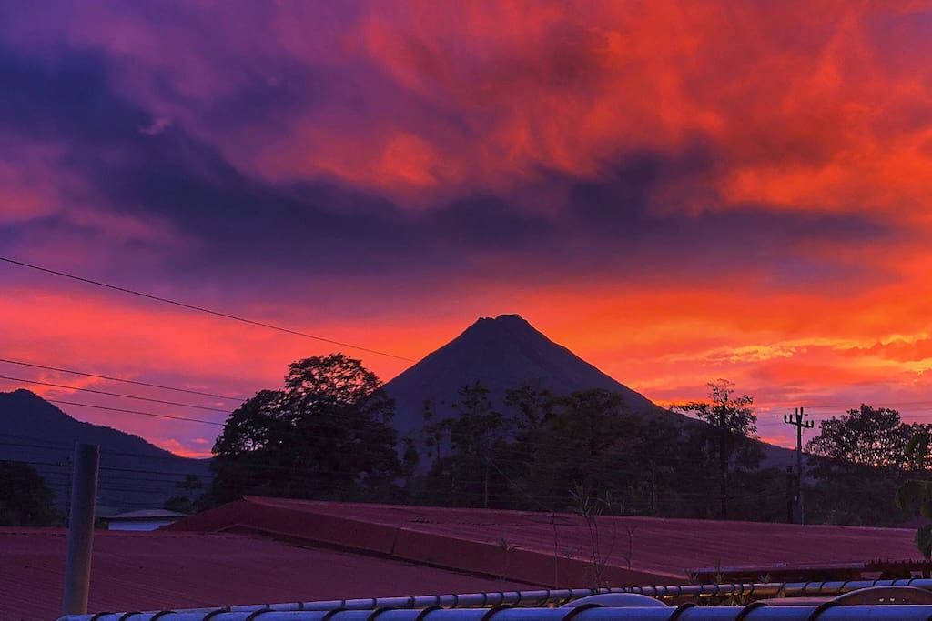 Yes, this sunset and volcano view is right from he apartment. Sunsets are not always as colorful as this this one but it's possibility that you can have one, during your stay.