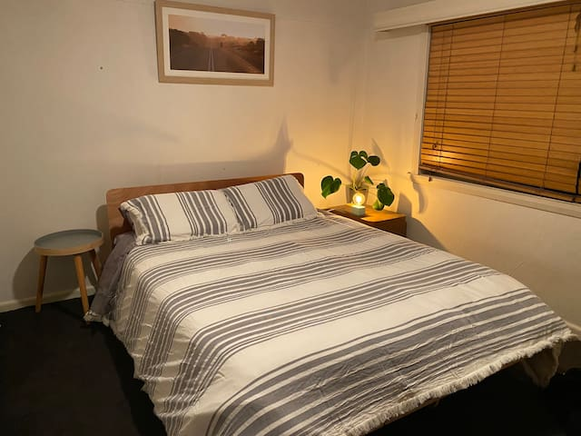 Master bedroom. Comfy queen size Koala mattress and base with an electric blanket. Lots of wardrobe space.