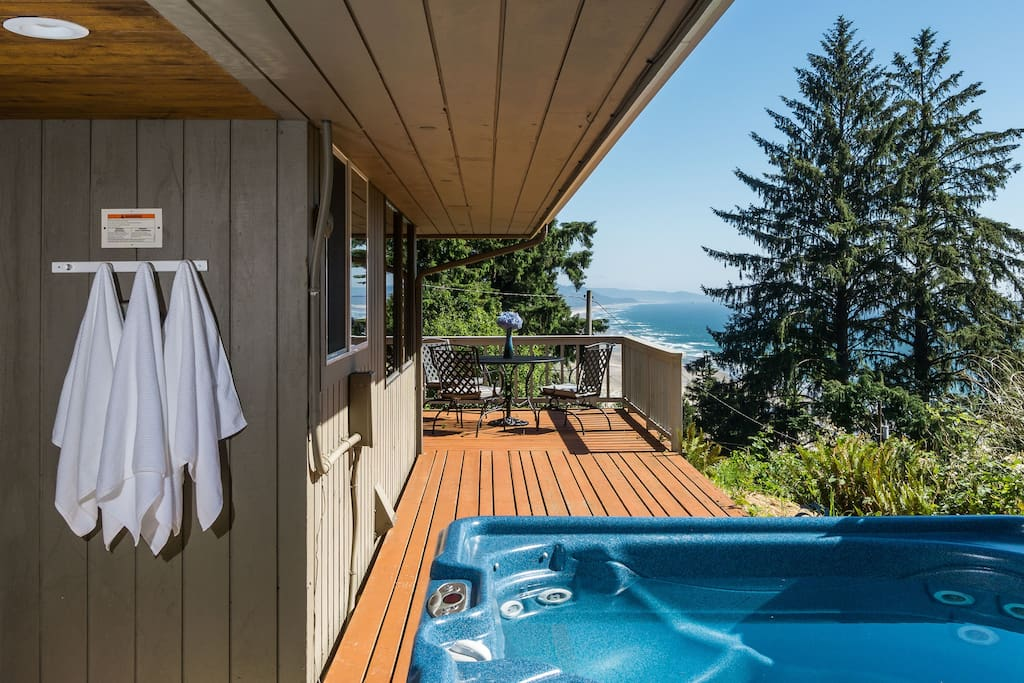 Private hot tub with ocean view
