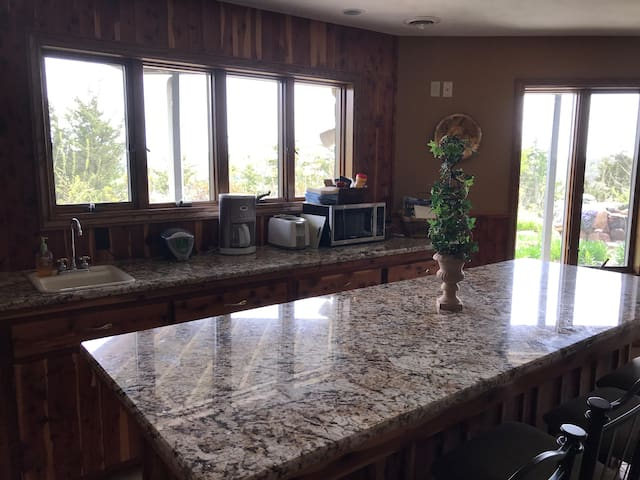 Bar area, with granite countertops, microwave, coffee pot, toaster and sink. Area also has a fridge