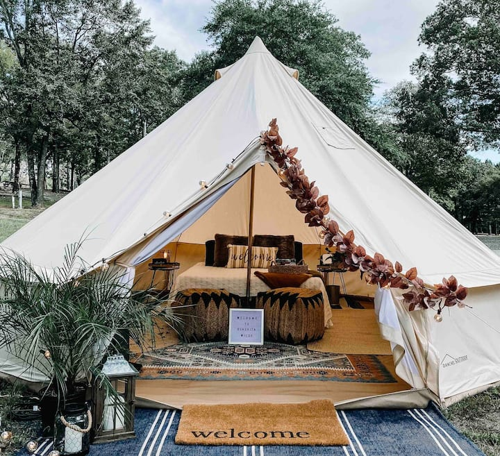 Luxury Bell Tent in the Ouachita Mountains