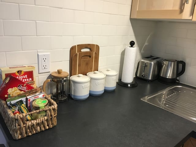 Welcome snacks and tea and coffee station