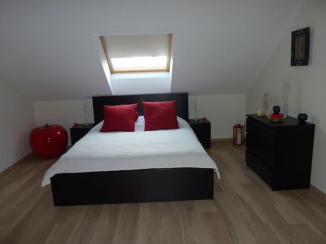 Belle chambre spacieuse avec coin télé et bureau - Piseng - House