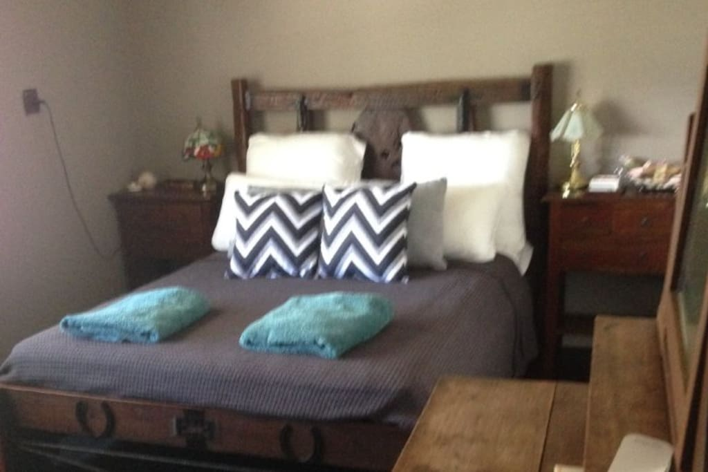 Hand made bed in Bedroom