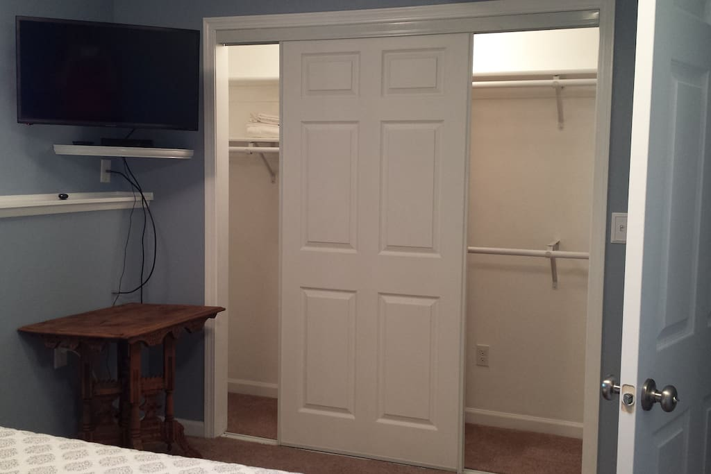 Large closet in bedroom & Roku TV