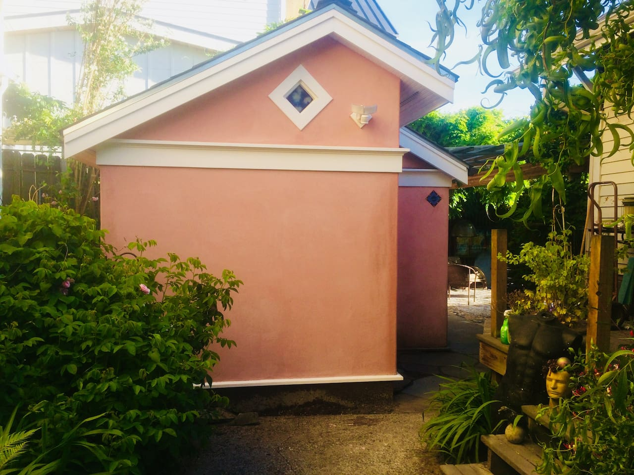 The Studio use to be a garage. It's situated at the end of the driveway with the entrance on the patio.