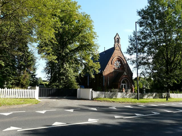 The Lodge is situated on the grounds of The Old Church, also on Airbnb.