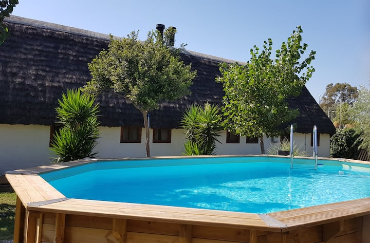 Typical Delta barrack, with pool, garden and bbq