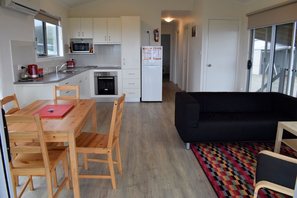 The cottage has a full size kitchen and comfortable lounge.