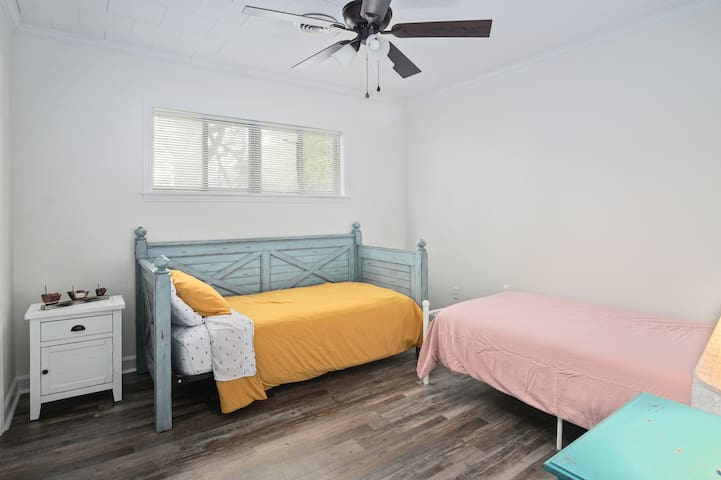 Two full size twin beds