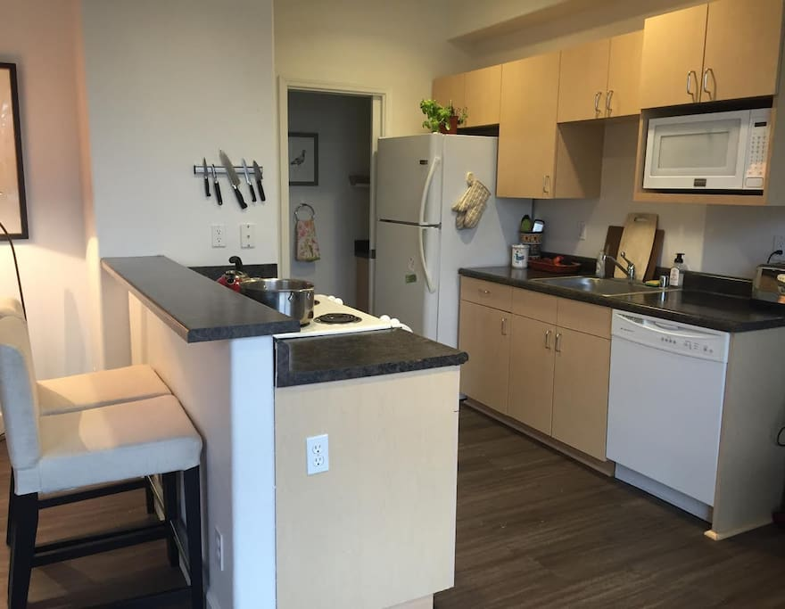 The kitchen has a dishwasher, microwave, and washer/drier.