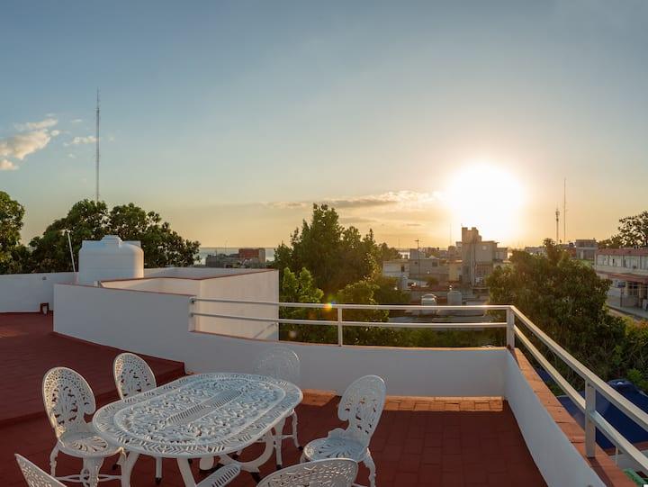 Double room /gazebo&terrace view/2min from seawall