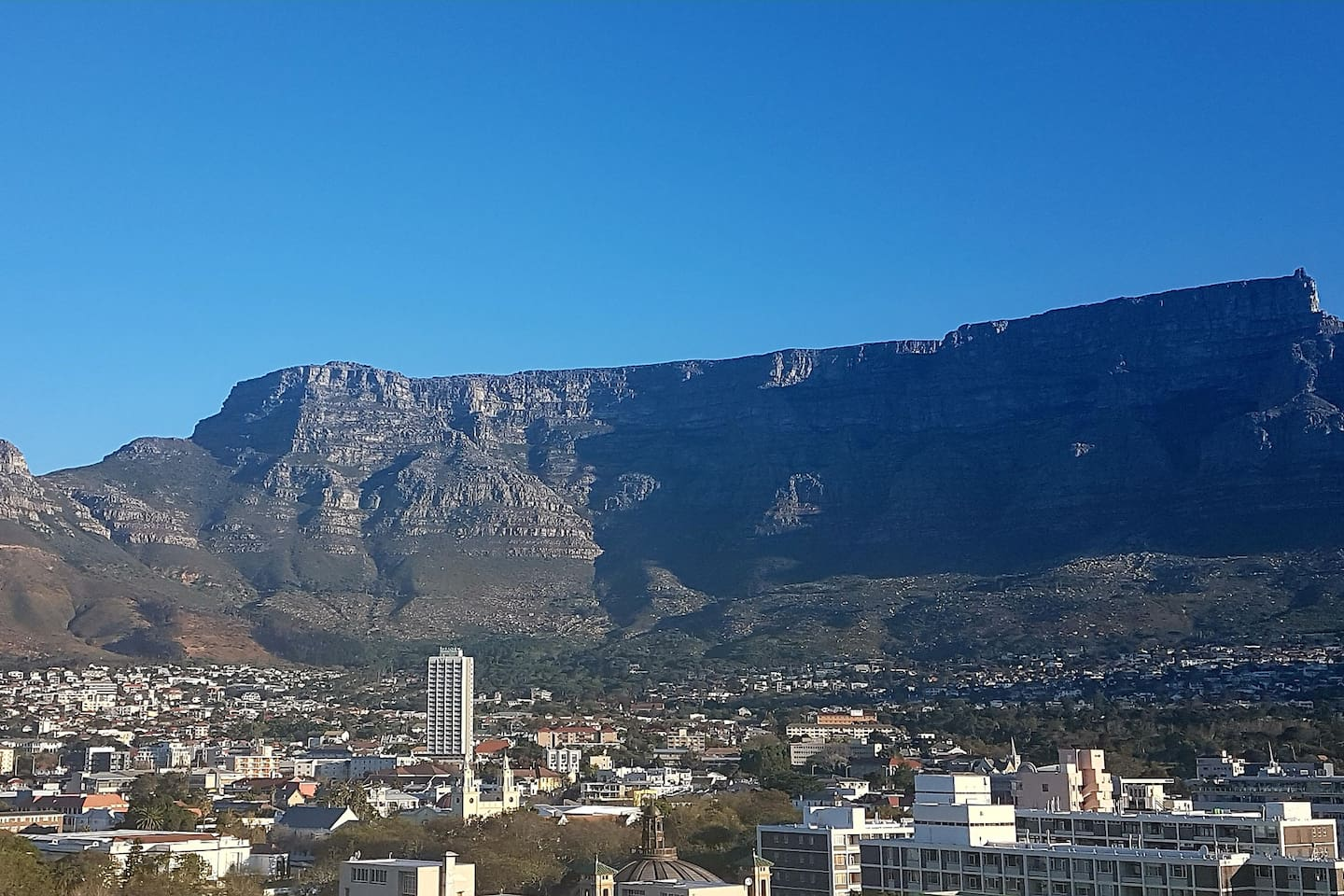 A view of Table Mountain from the balcony