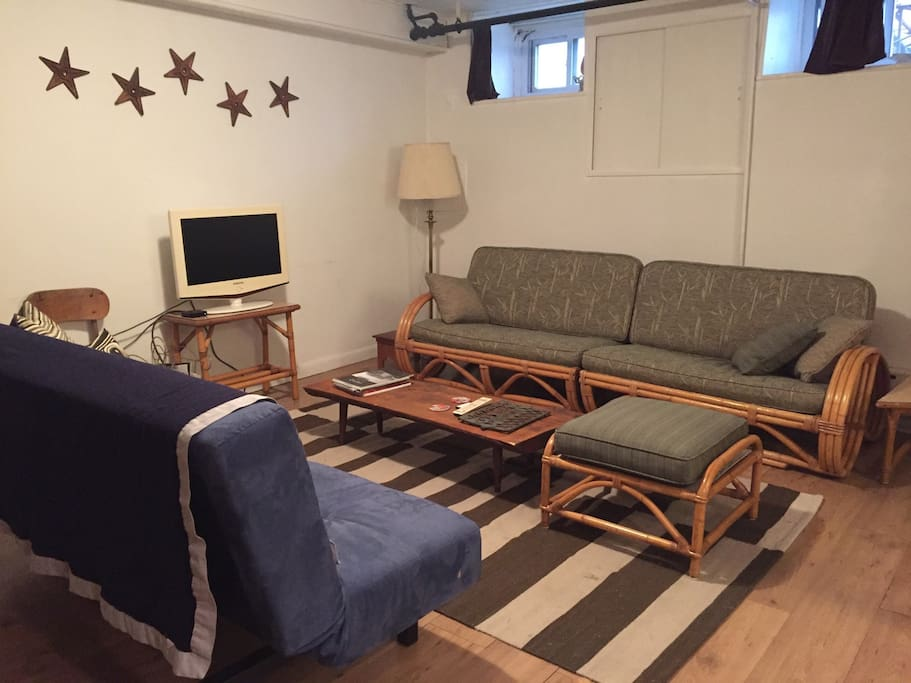 spacious living room with futon convertible bed