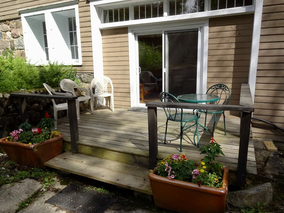 Apartment deck and entrance.