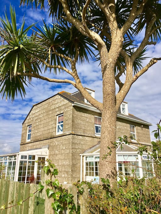 Seaview House b&b built from solid granite , overlooking open countryside down to the sea at Land End
