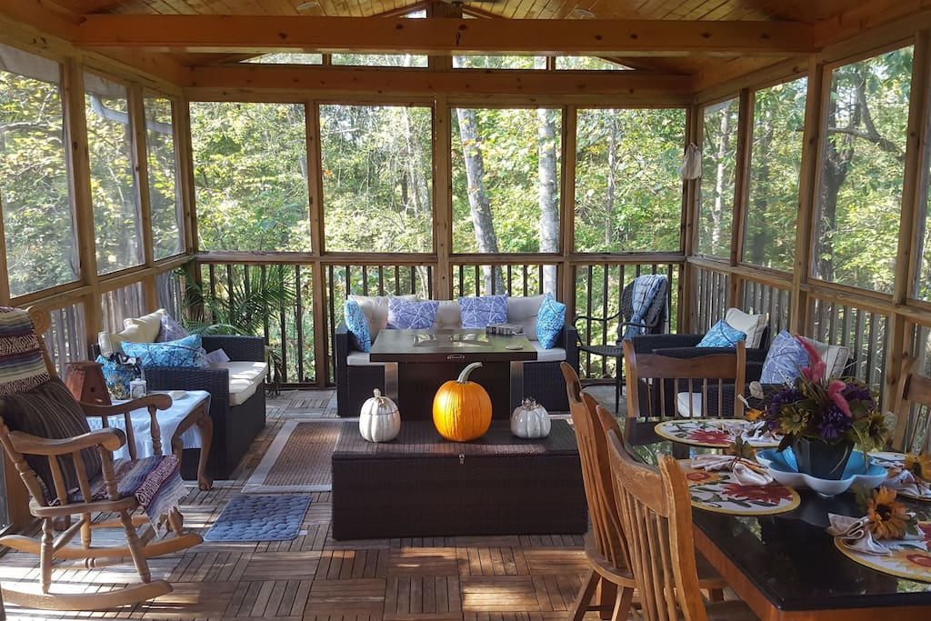 Relax in our cozy outdoor patio room! This place comes with free stress-relief!