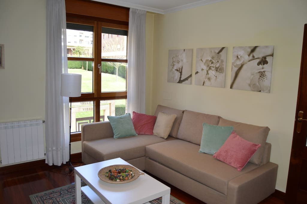 Amplio salón con sofá cama