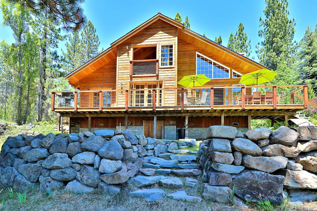 A view of the gorgeous outdoor deck and stonework.