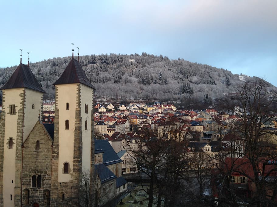 View from terrace: The Maria church and Fløyen in the back ground ( in winter -time)