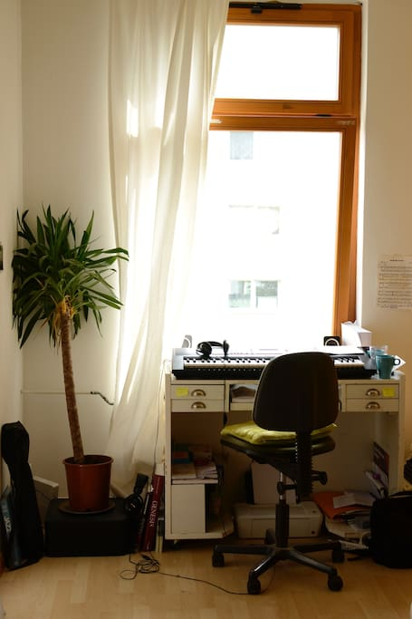 Same room, the desktop and chair with sunlight all day.