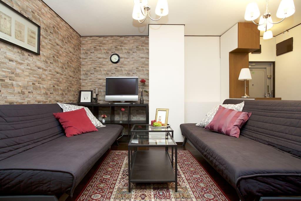 living room : 2 semi double sofa beds