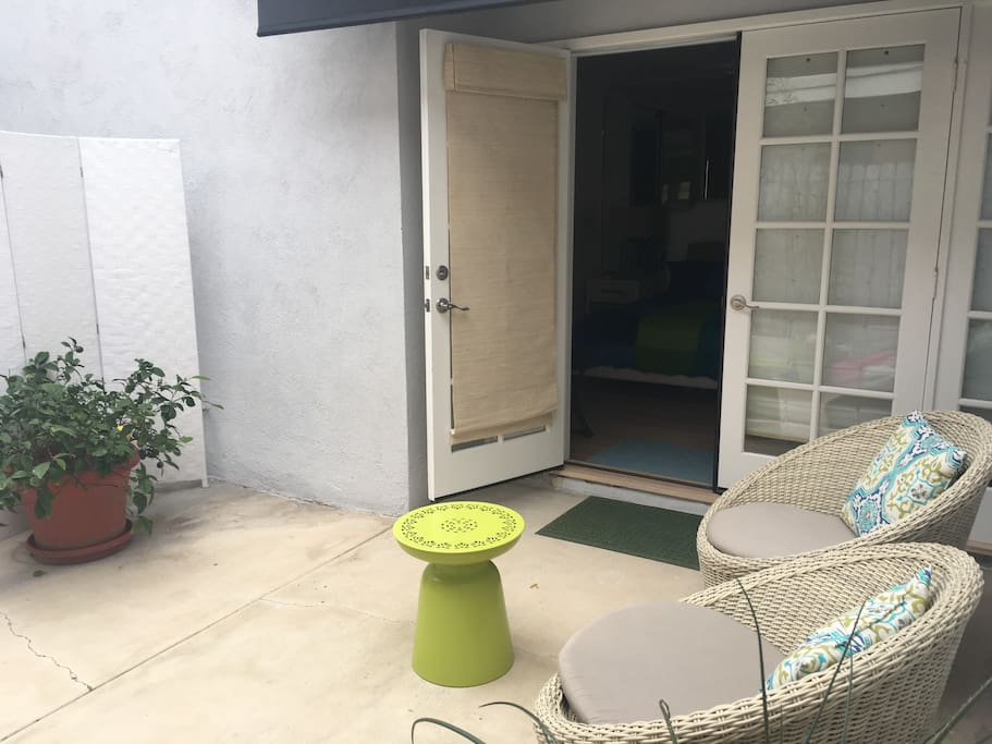 Entrance to Unit, screen divider from other patio for owner