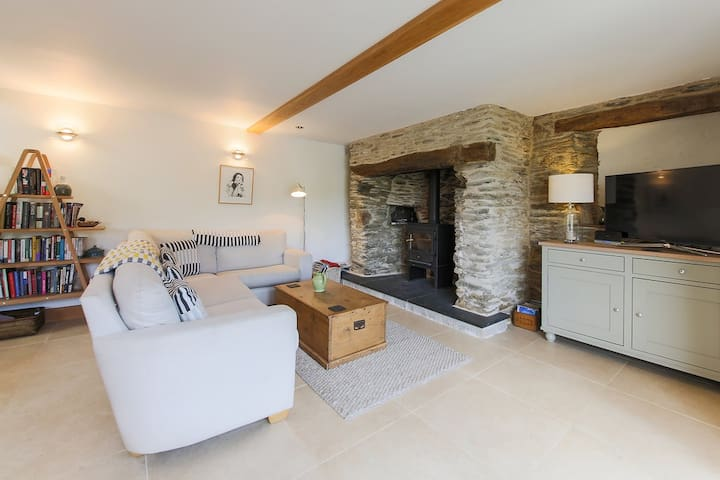 Comfy sofa in front of the fire