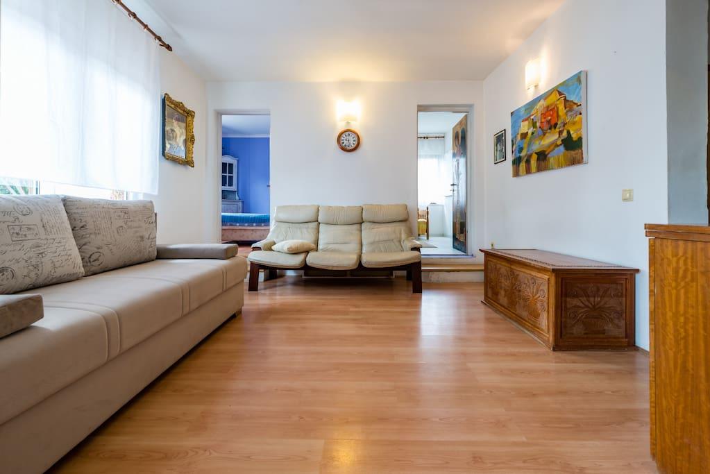 Living room with 160x200 bed dnevna soba s kaučom sa dva ležaja 160x200