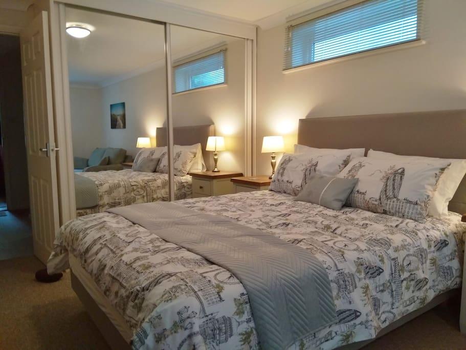 King double bed, large wardrobe