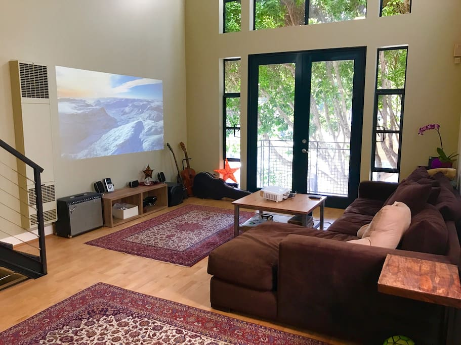 Living Room with projector setup