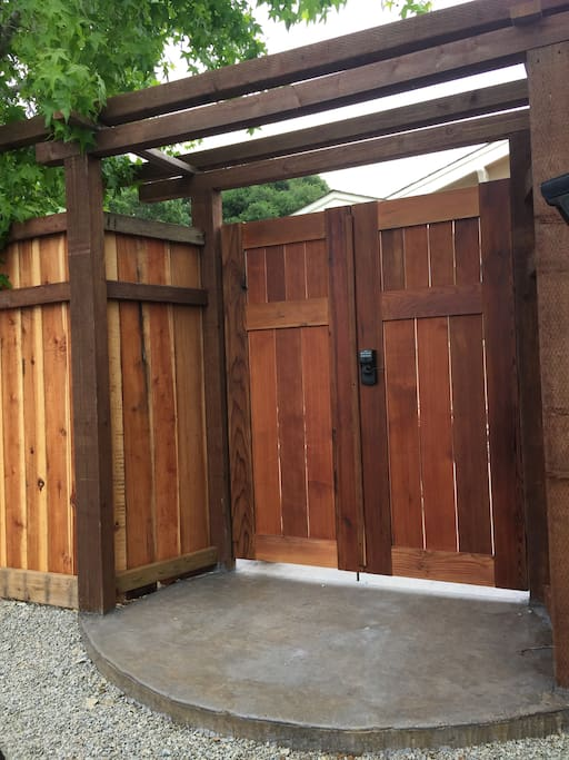Front Gate to Private and Lush Patio