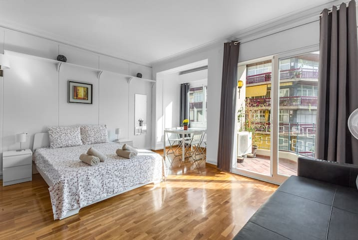 Spacious light room with a balcony for 4 persons