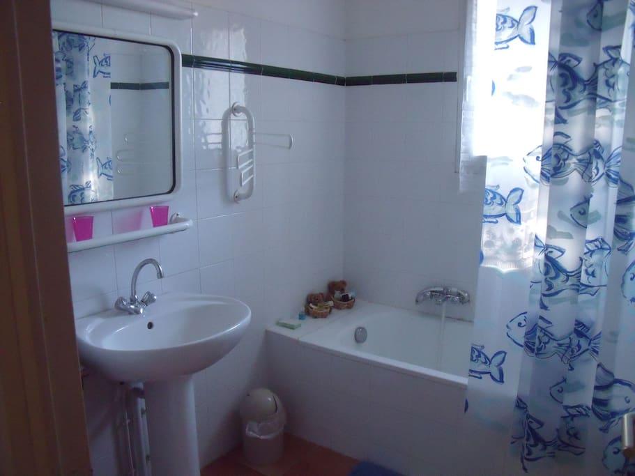 Salle de bain indépendante avec la chambre