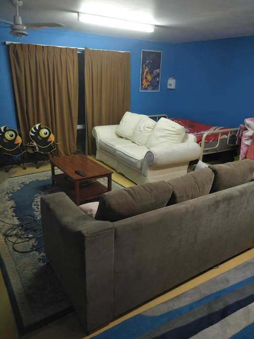 Lounge area,  including sofa bed