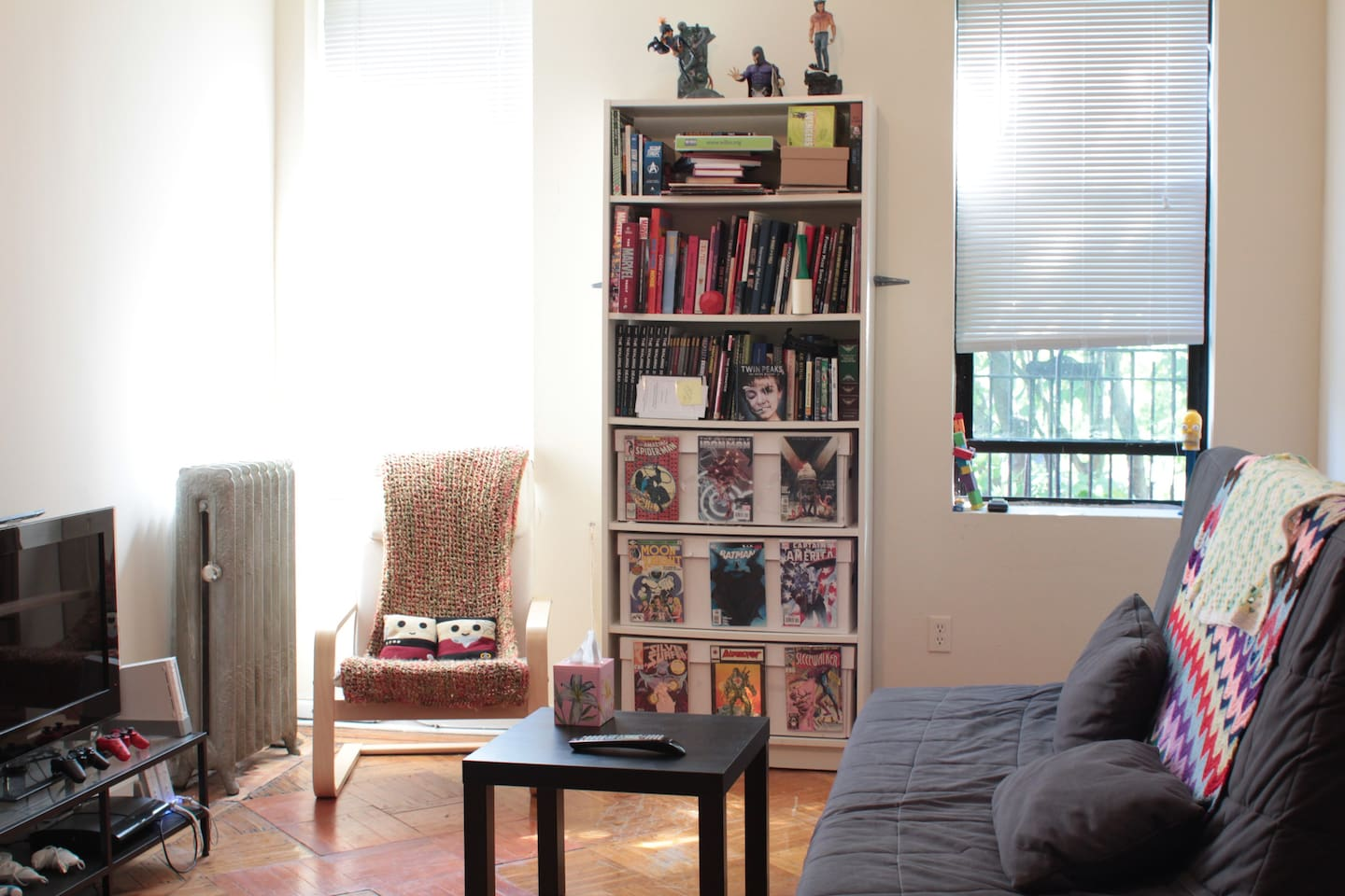 Our living room has lots of comics, graphic novels, games, DVDs and blu-rays to choose from!