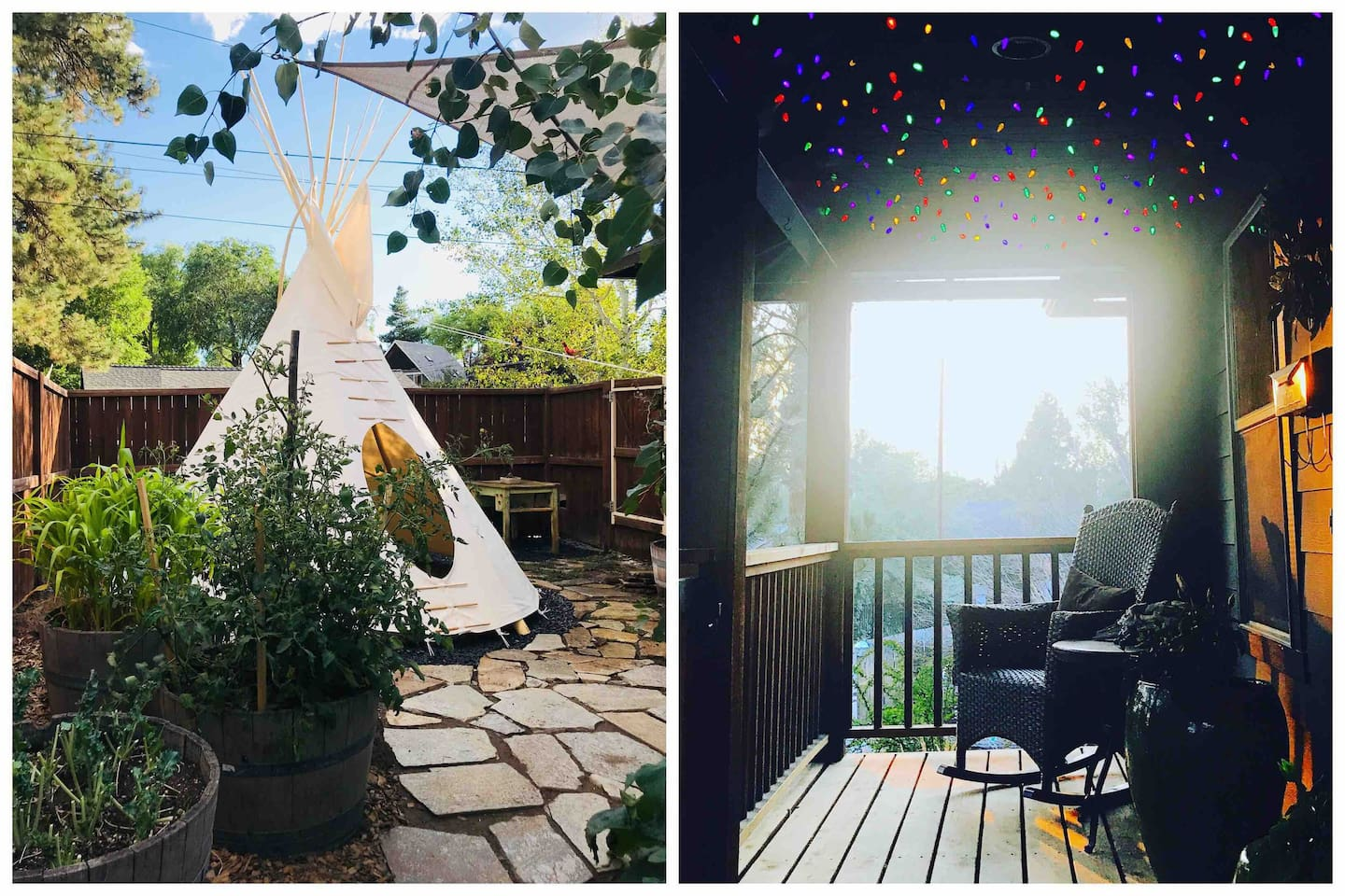 Our urban tipi is 12' in diameter and sleeps 2. We'll provide the fire log (Java Logs) and marshmallow skewers. The house is South facing and sits up high on the foundation above the street. We get a great sunset view from the porch.
