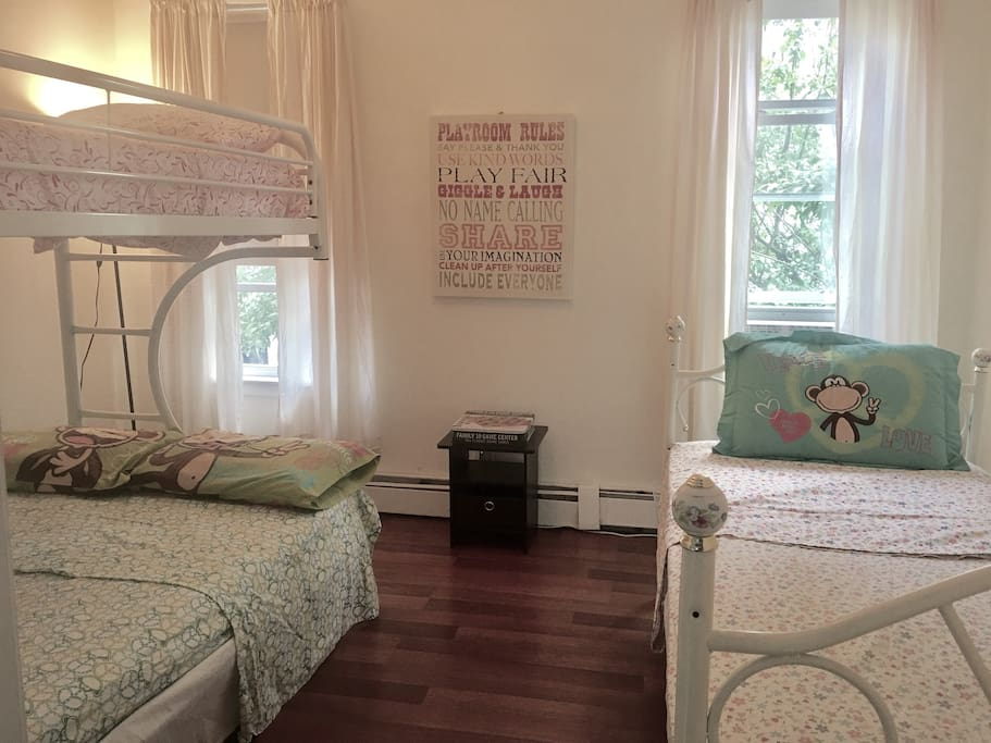 Kids Room with Bunk - Bottom Full Double, Top Single and separate Single Bed on side. Brand New Air Conditioner.