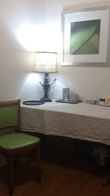 Other side of guest room- a table for getting work done or just a place to put your stuff.